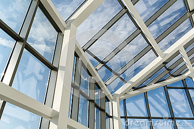 Glass roof of a modern office building