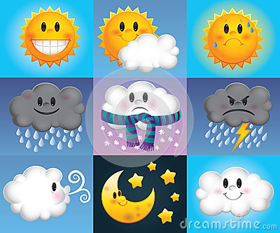 Cartoon weather symbols