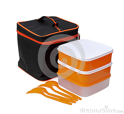 Orange boxes with black zipper bag