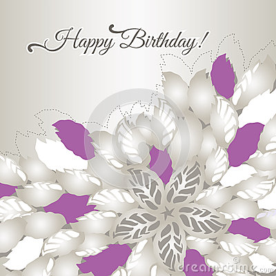 Happy Birthday card with pink flowers and leaves