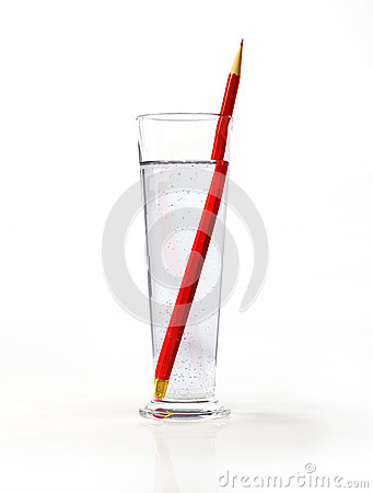Tall glass of water, with a red pencil inside.