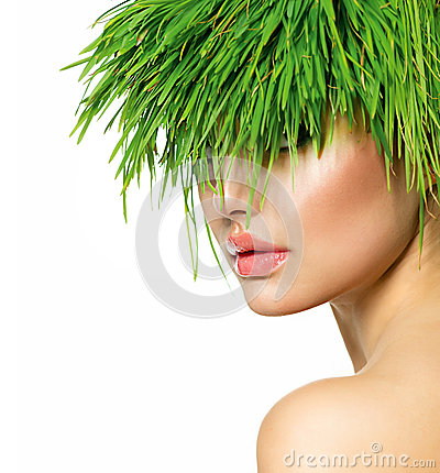 Woman with Green Grass Hair