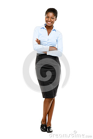 Happy African American businesswoman full length portrait on white
