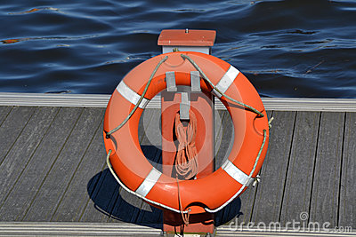 Life buoy in a harbor