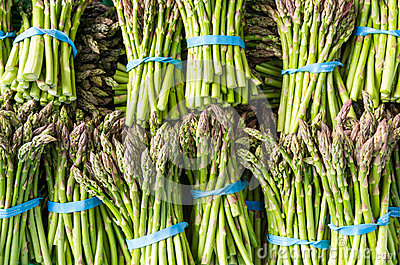 Fresh asparagus stalks at the market
