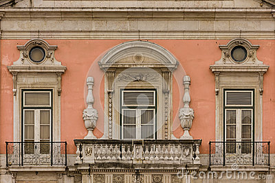 Baroque balcony and windows. Foz palace. Lisbon. Portugal