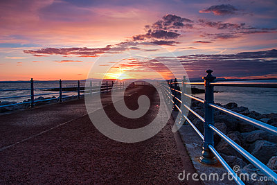 Sunset in Morecambe Bay in England
