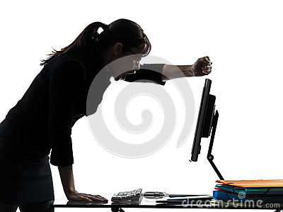 Business woman computer failure breakdown silhouette