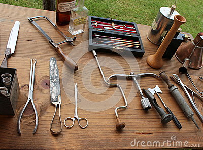 Typical medical instruments used during Civil War re-enactment,Gettysburg,Pennsylvania,May 2013