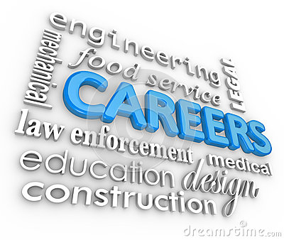 Careers Word Background Jobs 3d Choose Profession