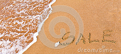 Written sale drawn on the sand