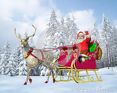 Santa Claus on his sleigh and reindeer, snow capped trees being at the background.