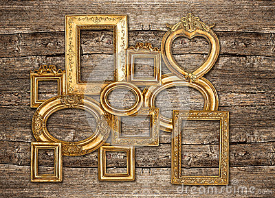 Antique golden framework rustic wooden wall
