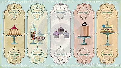Vintage labels with sweets