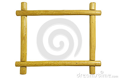 A rustic pine wood picture frame isolated on white background