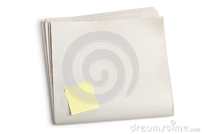 Blank Newspaper and Sticky Note