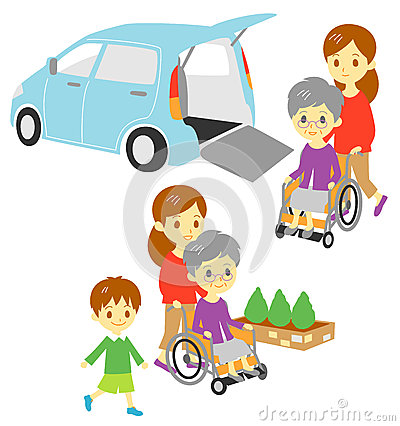 Old woman in wheelchair, Adapted Vehicle, family