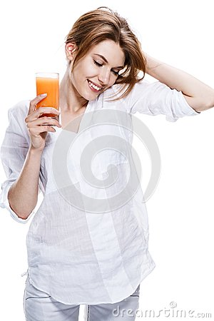 European woman with glass of orange juice - isolated on white background