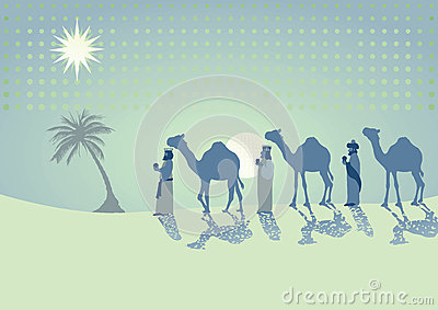 Three kings traveling with camels
