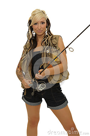 Girl with fishing pole