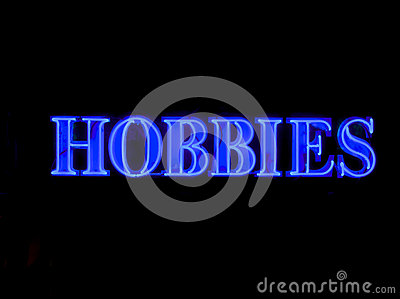 stock image of neon hobbies sign