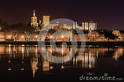 Avignon at night.