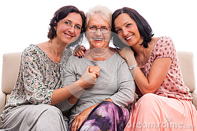 Happy family women senior mother embrace