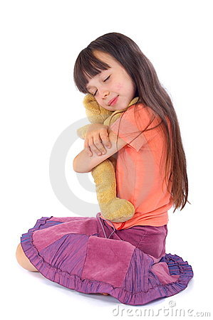 Girl with her favourite toy be