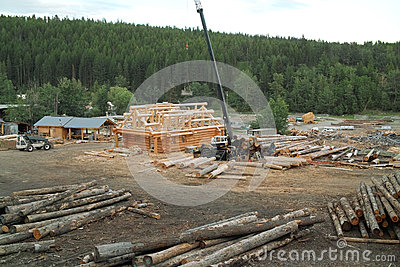 Log House Construction, British Columbia, Canada.