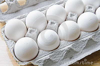 A dozen of eggs in a box