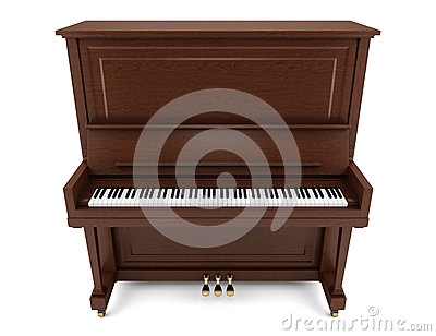 Brown upright piano isolated on white