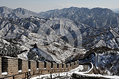 The Great Wall in winter white snow