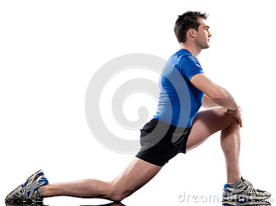 Man Workout Posture fitness exercise kneeling stretching legs