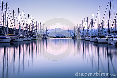 Yacht harbor in sunset