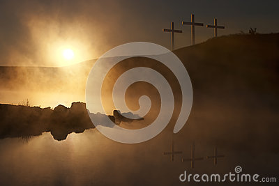 Three Crosses at Sunrise over a Foggy Lake Easter