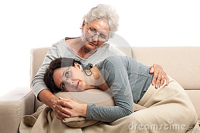 Family senior mother adult woman tenderness