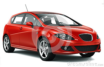 Compact red car