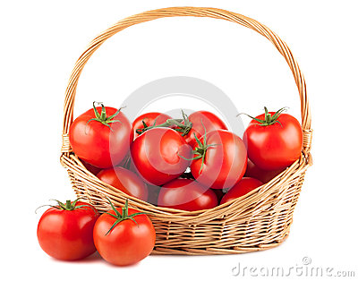 Fresh red tomatoes in wicker basket