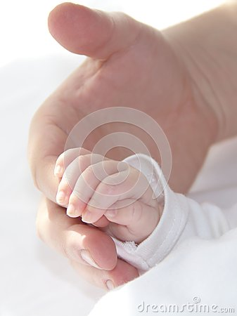 Tiny hand of baby with dad