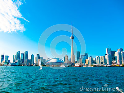 Toronto city skyline from the ferry travels to center island, Toronto, Canada
