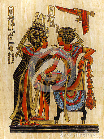 Papyrus Painting Pharaoh and Queen
