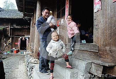 Poor traditional family in the old village in Guizhou, China