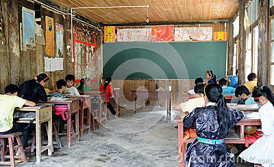 Poor school in the old village in China