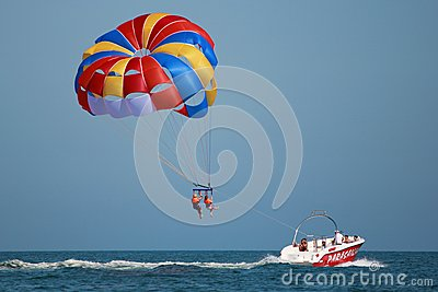 Taking off with parasail chute