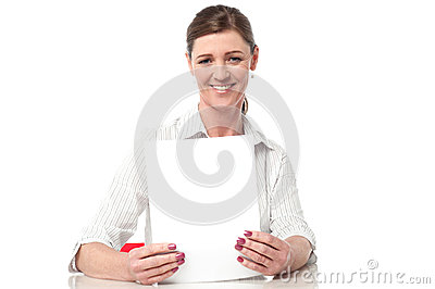 Corporate lady compiling annual reports