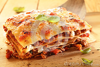 Golden lasagne with meat and pasta