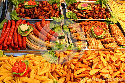 German wurst with french fries