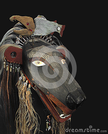 American Indian bear mask isolated.