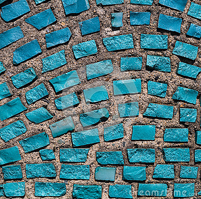 Wall with blue stone rock.