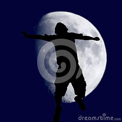 stock image of over the moon success